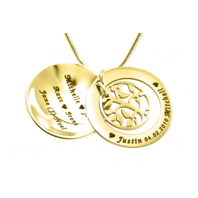 Personalised My Family Tree Dome Necklace - 18ct Gold Plated - The Name Jewellery™