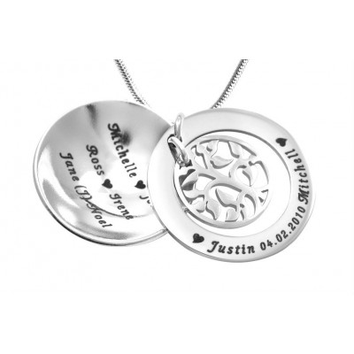 Personalised My Family Tree Dome Necklace - Sterling Silver - The Name Jewellery™