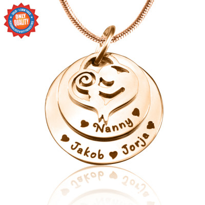 Personalised Mother's Disc Double Necklace - 18ct Rose Gold Plated - The Name Jewellery™