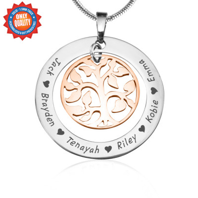 Personalised My Family Tree Necklace - Two Tone - Rose Gold Tree - The Name Jewellery™