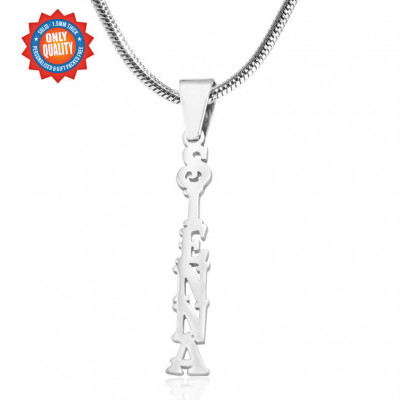 Personalised Name Necklace Vertical - Sterling Silver - The Name Jewellery™