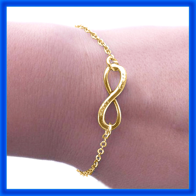 Personalised Classic  Infinity Bracelet/Anklet - 18ct Gold Plated - The Name Jewellery™