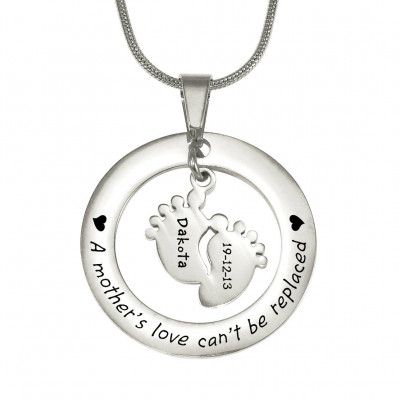 Personalised Cant Be Replaced Necklace - Single Feet 18mm - Sterling Silver - The Name Jewellery™
