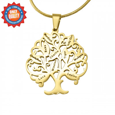 Personalised Tree of My Life Necklace 10 - 18ct Gold Plated - The Name Jewellery™