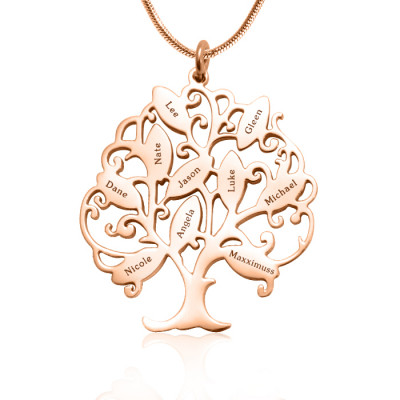 Personalised Tree of My Life Necklace 10 - 18ct Rose Gold Plated - The Name Jewellery™