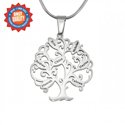Personalised Tree of My Life Necklace 7 - Sterling Silver - The Name Jewellery™