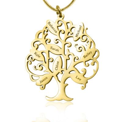 Personalised Tree of My Life Necklace 8 - 18ct Gold Plated - The Name Jewellery™