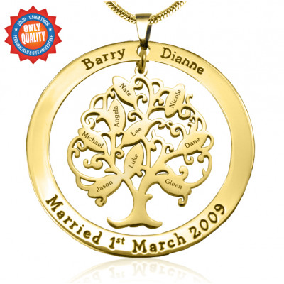 Personalised Tree of My Life Washer 9 - 18ct Gold Plated - The Name Jewellery™
