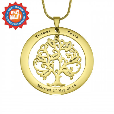 Personalised Tree of My Life Washer 8 - 18ct Gold Plated - The Name Jewellery™