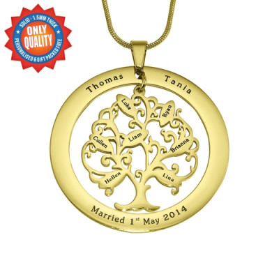 Personalised Tree of My Life Washer 7 - 18ct Gold Plated - The Name Jewellery™