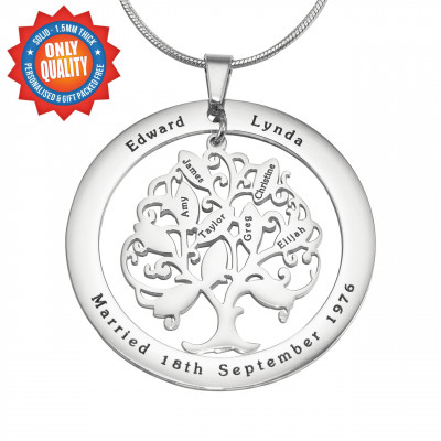 Personalised Tree of My Life Washer Necklace 10 - Sterling Silver - The Name Jewellery™