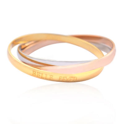 Personalised Mother Daughter Three Tone Bangle Set - The Name Jewellery™