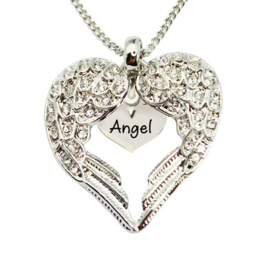 Personalised Angels Heart Necklace with Heart Insert - The Name Jewellery™