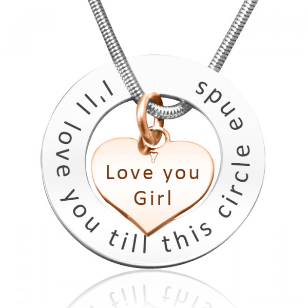 Personalised Circle My Heart Necklace - Two Tone HEART in Rose Gold - The Name Jewellery™