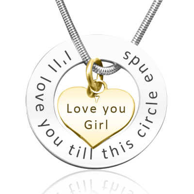Personalised Circle My Heart Necklace - Two Tone HEART in Gold - The Name Jewellery™