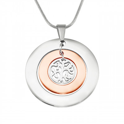 Personalised Circles of Love Necklace Tree - TWO TONE - Rose Gold  Silver - The Name Jewellery™