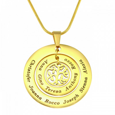 Personalised Circles of Love Necklace Tree - 18ct Gold Plated - The Name Jewellery™