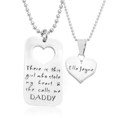 Personalised Dog Tag - Stolen Heart - Two Necklaces - Silver - The Name Jewellery™