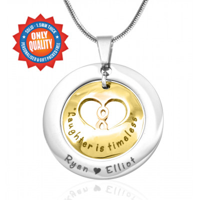 Personalised Infinity Dome Necklace - Two Tone - Gold Dome  Silver - The Name Jewellery™