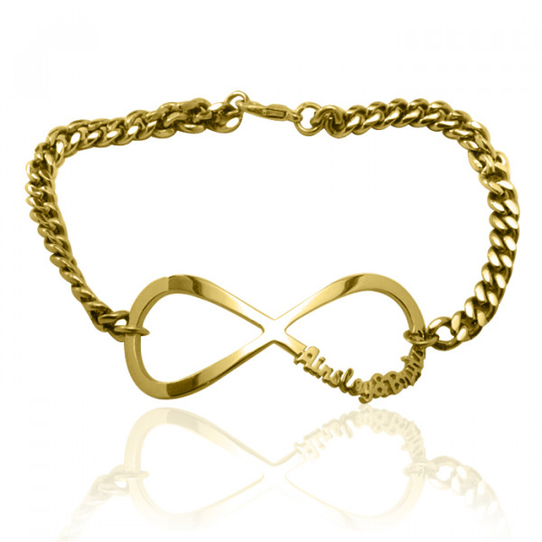 Personalised Infinity Name Bracelet/Anklet - 18ct Gold Plated - The Name Jewellery™