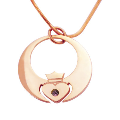 Personalised Queen of My Heart Necklace - 18ct Rose Gold Plated - The Name Jewellery™