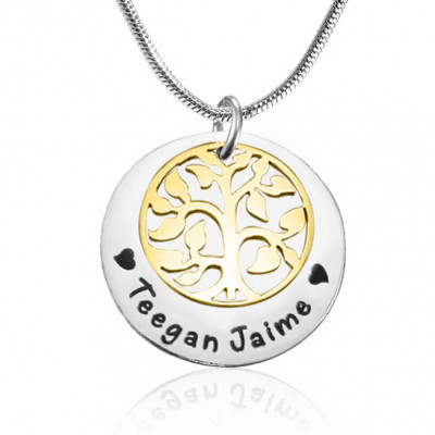 Personalised My Family Tree Single Disc - Two Tone - Gold  Silver - The Name Jewellery™