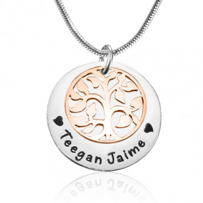 Personalised My Family Tree Single Disc - Two Tone - Rose Gold  Silver - The Name Jewellery™