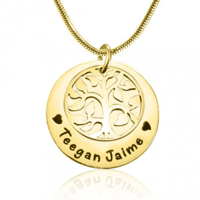 Personalised My Family Tree Single Disc - 18ct Gold Plated - The Name Jewellery™