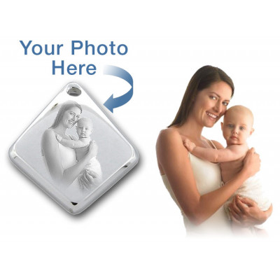 925 Sterling Silver 3D Diamond Photo / Picture Engraved Pendant - Custom - The Name Jewellery™