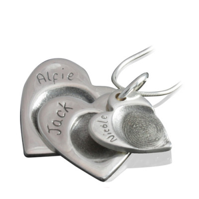 925 Sterling Silver FingerPrint Cascade Triple Heart Pendant - The Name Jewellery™
