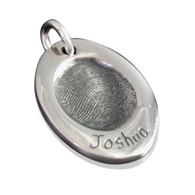 925 Sterling Silver FingerPrint Oval Pendant - The Name Jewellery™