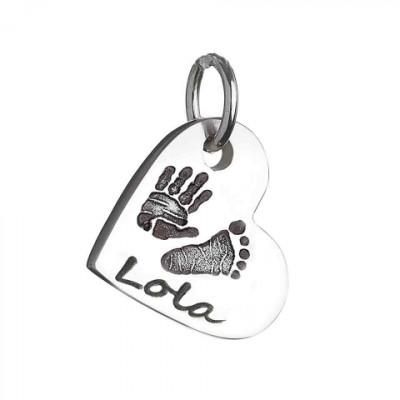 925 Sterling Silver Hand / Footprint Heart Charm Necklace - The Name Jewellery™