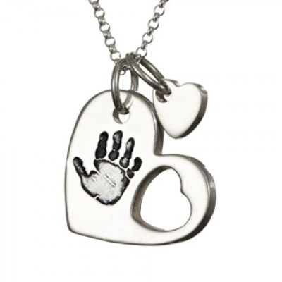 925 Sterling Silver Cut Out Heart Handprint Necklace - The Name Jewellery™