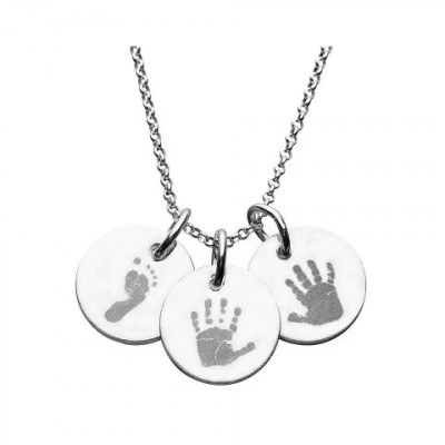 925 Sterling Silver Hand/Footprint Engraved Disc Pendant - The Name Jewellery™