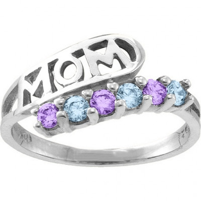 Cherish  MOM Cut-out 2-6 Stones Ring - The Name Jewellery™