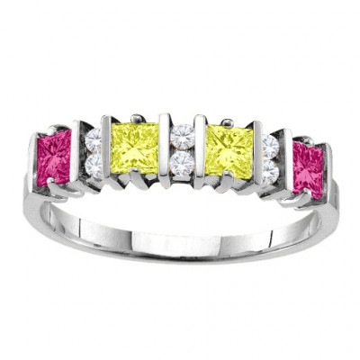 Echo  2-6 Princess Cut Stones Ring With Accents - The Name Jewellery™