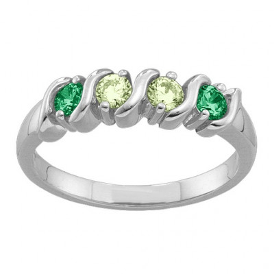 2-6 Gemstones S-Curve Ring - The Name Jewellery™