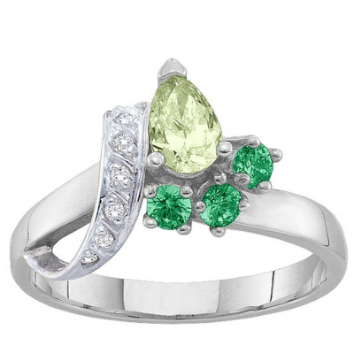 2-7 Stones Ribbon Ring - The Name Jewellery™