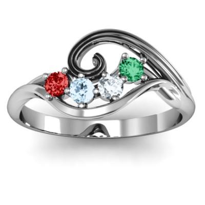 3 - 8 Stone Swirl Ring - The Name Jewellery™