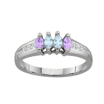 3-6 Marquise Ring With Channel Set Accents - The Name Jewellery™