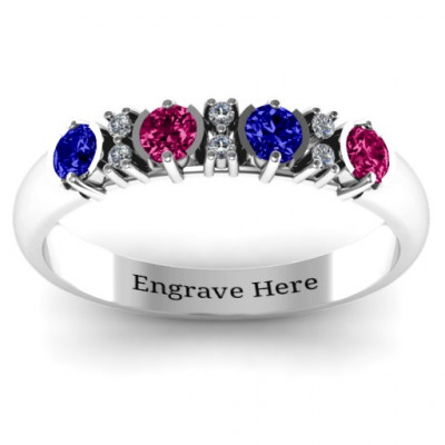 3-6 Stone Circular Half Bezel and Twin Accent Ring - The Name Jewellery™