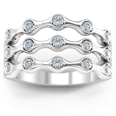 3 Row Fashion Wave Ring - The Name Jewellery™