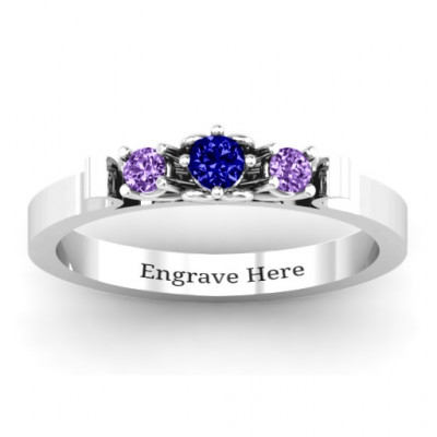 3-Stone Ring with Heart Gallery - The Name Jewellery™