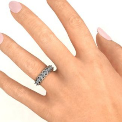 6 to 9 Stones in Halo Ring - The Name Jewellery™