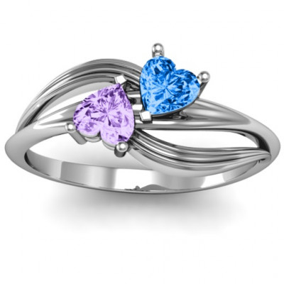 A  Couple  of Hearts Ring with Cubic Zirconias Stones - The Name Jewellery™