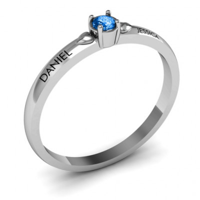 Heart Surrounded Solitaire Ring - The Name Jewellery™