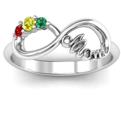 Mom's Infinite Love Ring with 2-10 Stones and 3 Cubic Zirconias Stones - The Name Jewellery™