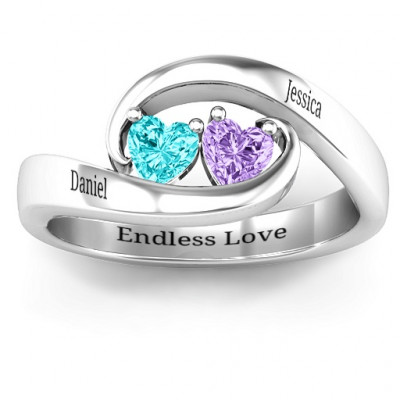 Pair of Hearts Ring - The Name Jewellery™