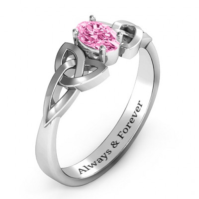 Trinity Knot Oval Engagement Ring with White Topaz Stone - The Name Jewellery™