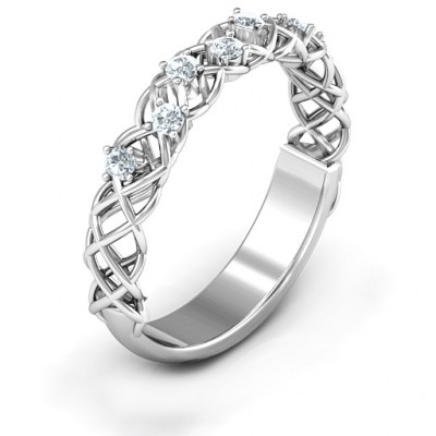 Stones Woven in Love Ring with Emerald (Simulated) Stones - The Name Jewellery™
